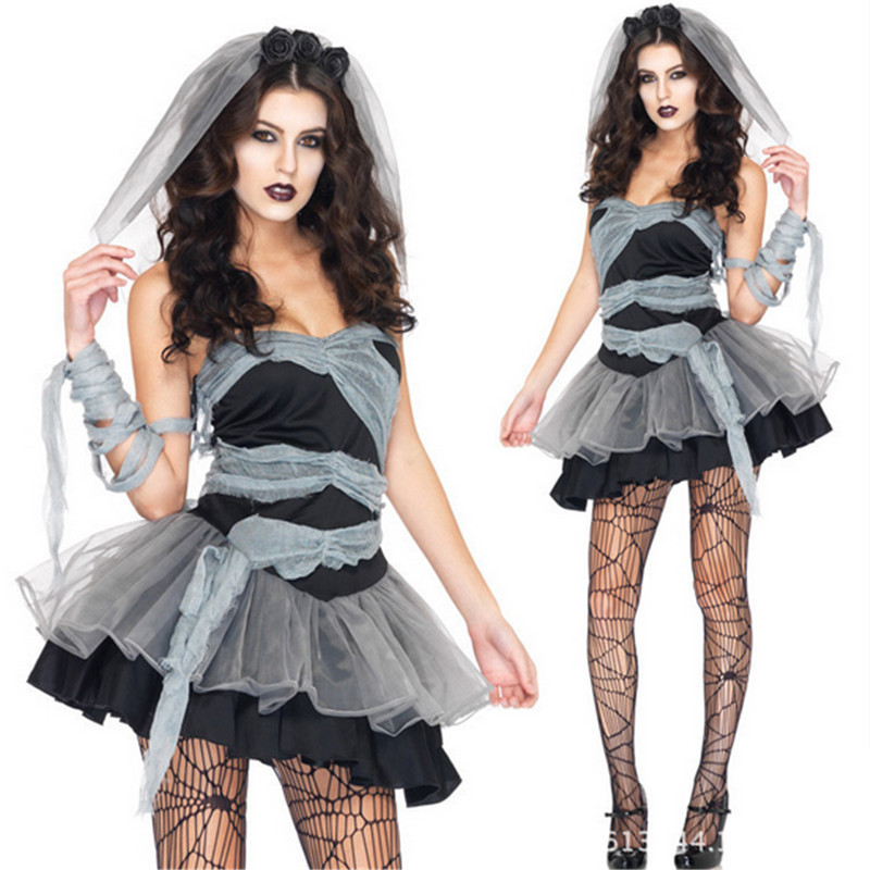 Sexy Black goat bride halloween scary costumes for women Ladies ZombieCorpse Cosplay Adult Fancy Dress Club wear PartyCostume