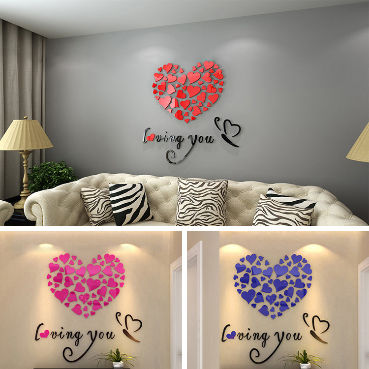 Romantic diy art 3d acrylic love heart wall sticker for Wall stickers for living room malaysia