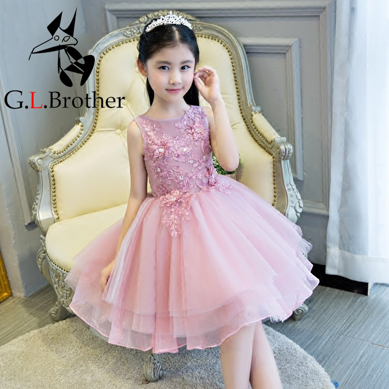 Bridesmaid Wedding Dress New Style 2017 Flower Girls Dress Pink Princess Dress Bridesmaid Girls Dresses For Evening Party IY17