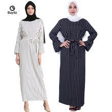 Buytiz White Black Striped Dress Sleeve Abaya Vestidos Long Robe Gowns Muslim Kimono Middle East Ramadan Arab Islamic Clothing