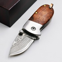 JSSQ Mini Folding Knife Damascus 440C Blade Wood Handle Outdoor Camping Survival Pocket Knives Utility Diving Hunting EDC Tools utility damascus hunting fixed blade knives ox horn handle survival knife outdoor straight knife camping edc tools