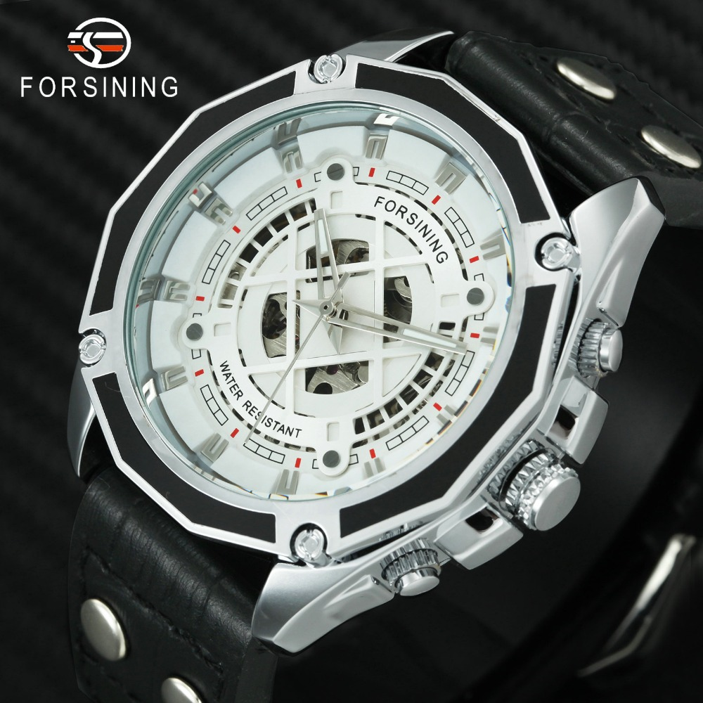 FORSINING 2018 Mechanical Automatic Watch Men Fashion Skeleton 3D Dial Leather Mens Watches Top Brand Luxury Waterproof Clock mens mechanical watches top brand luxury watch fashion design black golden watches leather strap skeleton watch with gift box
