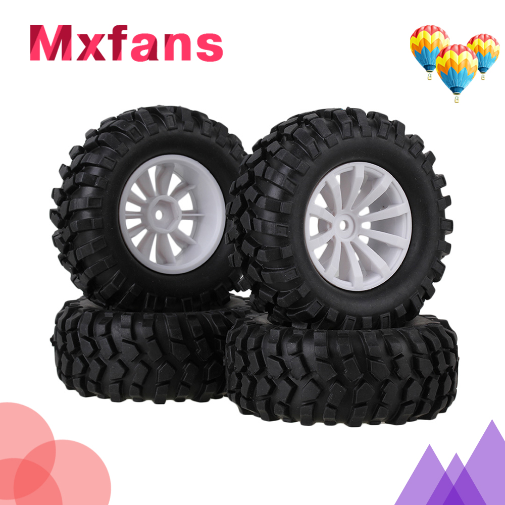Mxfans 4 Sets Rubber Tyre & Plastic 10-Spoke Wheel Rim for RC 1:10 Rock Crawler
