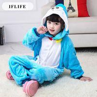 Pijama Infantil Onesie Hooded Kids Animal Cartoon Pajama Blue Doraemon Children Boy Girl Unisex Pyjama