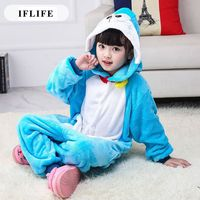 Pijama Infantil Onesie Hooded Kids Animal Cartoon Pajama Blue Doraemon Children Boy Girl Unisex Pyjama