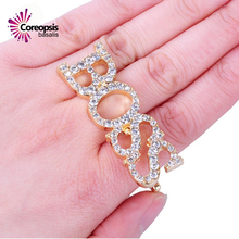 Trendy Party Women Gold Ring temperament zircon Letter Boss Rings Vintage Design Set Metal Jewelry sale new arrival freeshipping