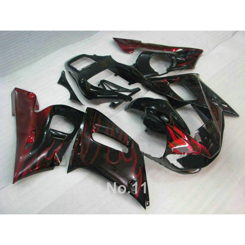 High grade ABS fairing kit for YAMAHA YZF-R6 1998-2002 red flames in black YZF R6 bodywork fairings set 98 99 00 01 02 NX94
