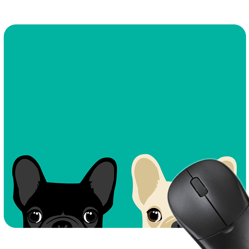 Black White Probe Dog Gaming Mouse Mat Rubber Rectangle