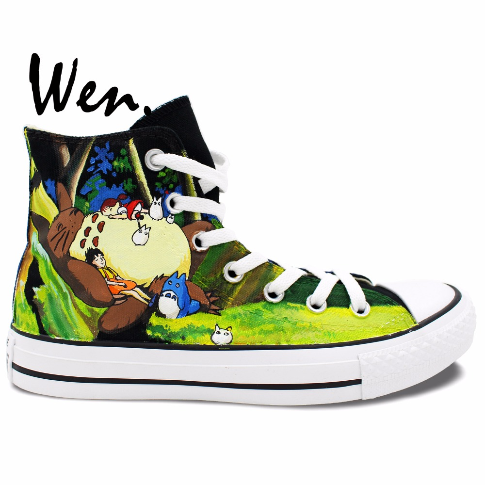 Wen Design Custom Anime Hand Painted Shoes Man Woman's Sneakers My Neighbor Totoro High Top Men Women's Canvas Sneakers wen hand painted shoes design custom anime my neighbor totoro high top canvas sneakers for men women s christmas gifts