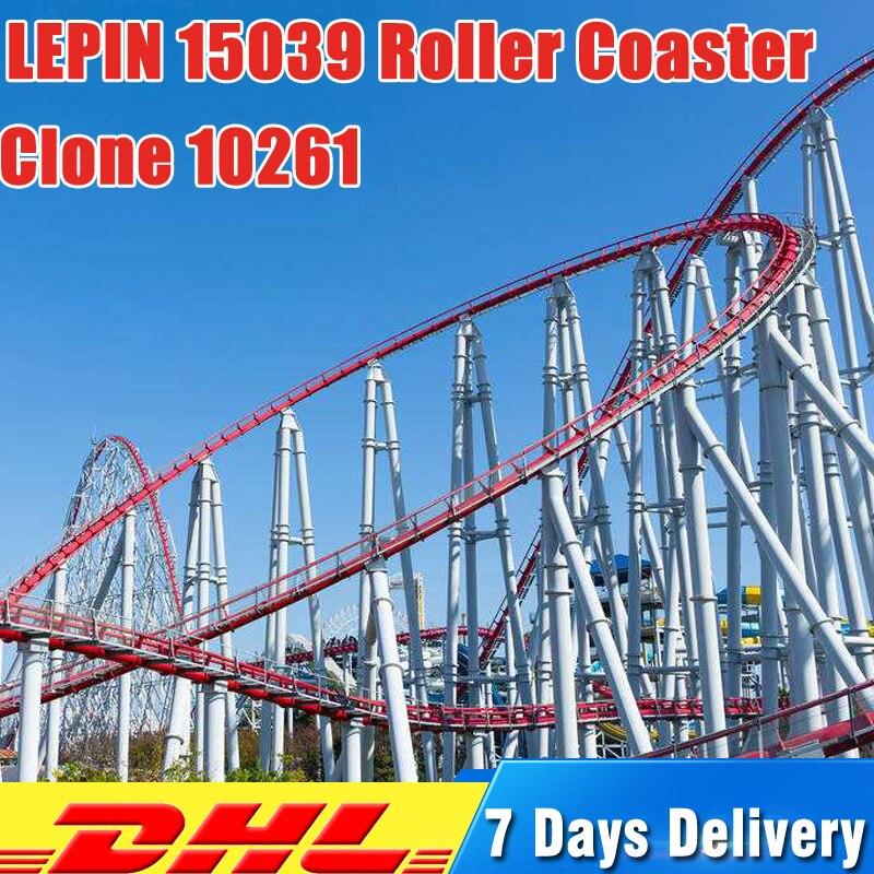 где купить Lepin 15039 4619Pcs City Street Figures Roller Coaster Sets Model Building Kits Blocks Bricks Compatible 10261 Toys for Children по лучшей цене