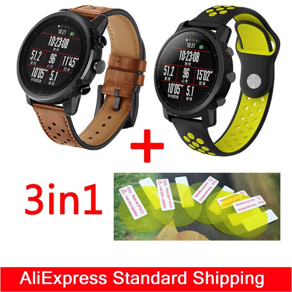 3in1 Band für Original Xiaomi Huami Amazfit 2 Stratos tempo Armband Leder smartwatch + Doppel farbe silikon wristband