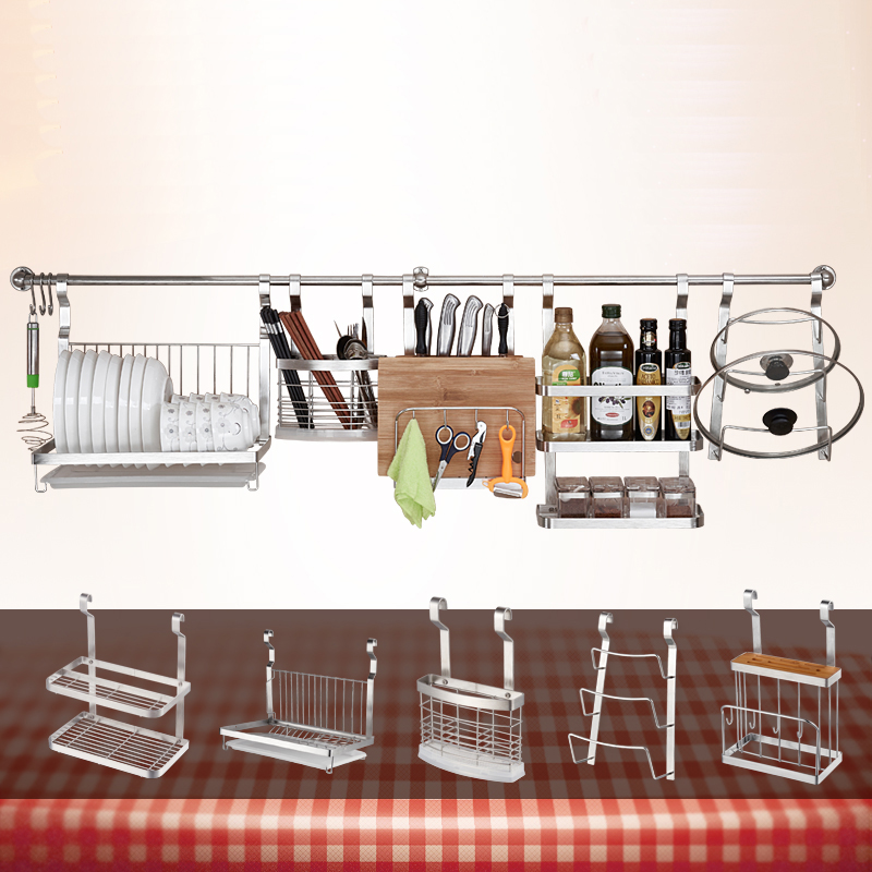 Stainless Steel Kitchen Shelf Rack DIY Wall Hanging Storage Holders Cross Tube Dish Pan Cover Racks Kitchen Organizer Tools|Racks & Holders| |  - title=