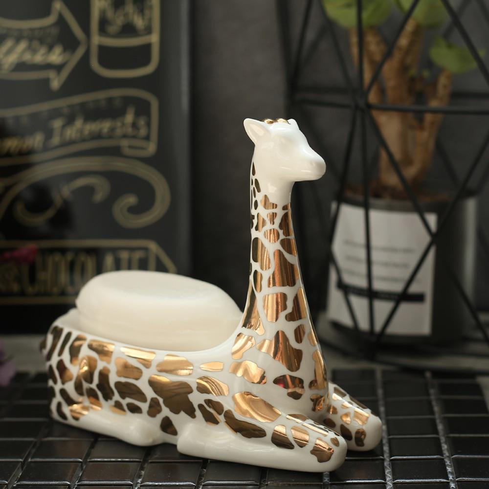 Kelly American ceramic giraffe soap dish European modern creative home decoration ornaments gold soap box lo1017722 цена
