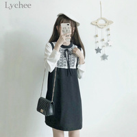 Lychee Spring Summer Sweet Women Dress Patchwork Lace Up Bow Tie Long Sleeve Casual Loose Mini