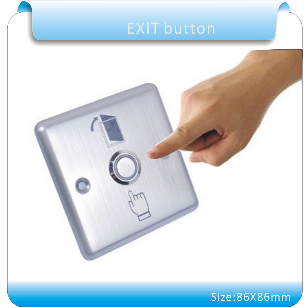 Free shipping 86X86mm Stainless steel For Access Control System Door Release Exit Button(NO) without LED Indication new 86x86mm exit button switch door opener stainless steel backlight led for electric lock access control home office