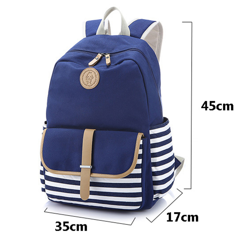 Women Backpack Canvas Laptop Backpack For Teenage Girls Fashion Striped Printing School Backpack Female sac a dos Feminine fashion women floral printing backpack daypacks canvas school bags for teenager girls rucksack travel backpack sac a dos femme