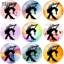 TAFREE Women Men Dancers Dancing Pose 12mm 15mm 18mm Beads Glass Cabochons Pattern Dome Cameo Pendant Settings