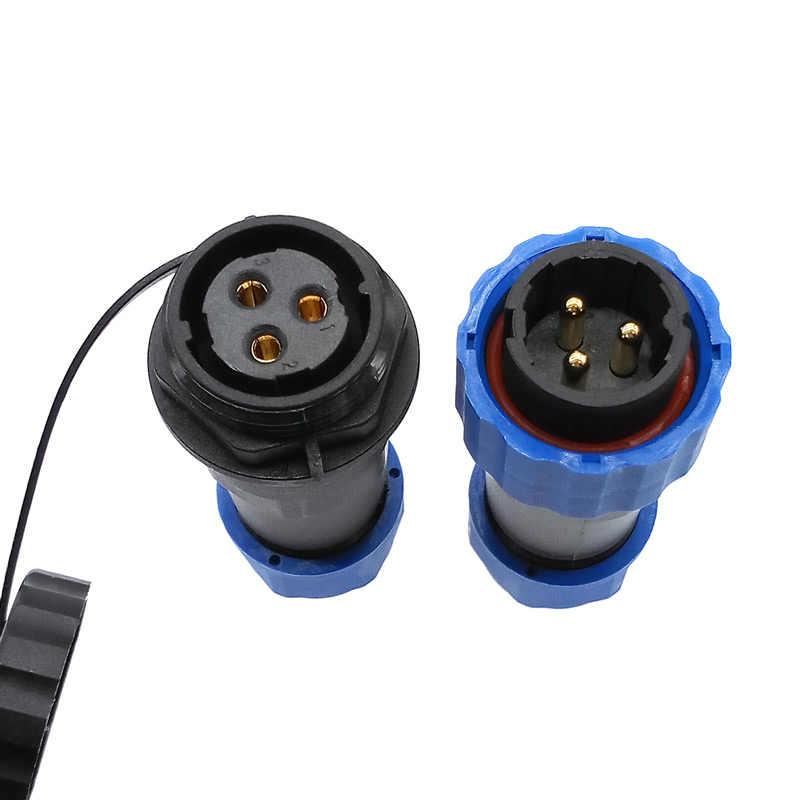 SP20 recto conector impermeable 1/2/3/4/5/6/7/9/ 10/12/14Pin IP68 potencia Industrial macho y hembra