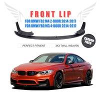 3PCS Set Carbon Fiber Racing Front Lip Splitter Cover Trim P Style For BMW F82 M4