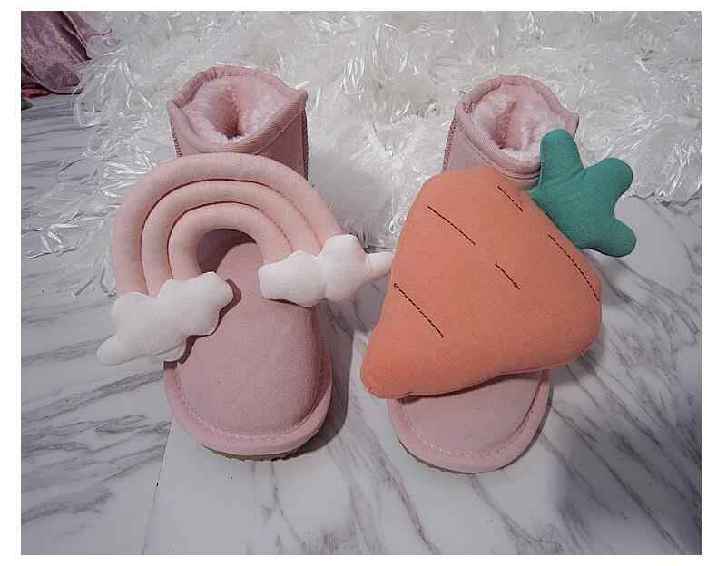 Cute fairy hair ball leather rhinestone pearl three-dimensional flower rabbit fur snow boots cotton shoes boots