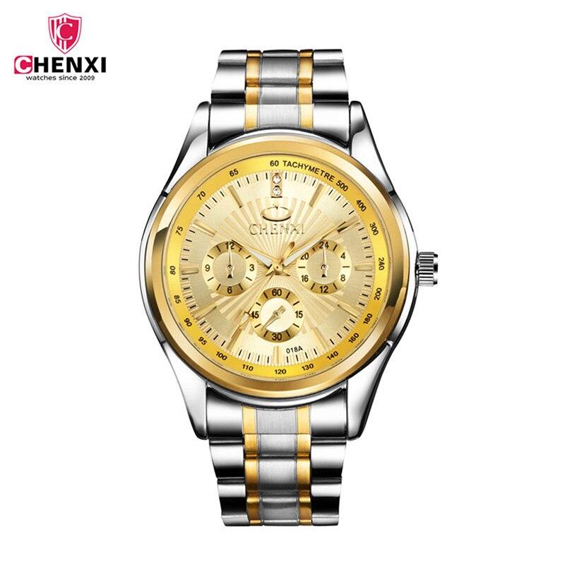 CHENXI mens watches top luxury Golden Stainless Steel Clock Wrist Watches Quartz Stylish Male Waterproof Watch relogio 2627 stylish 8 led blue light digit stainless steel bracelet wrist watch black 1 cr2016