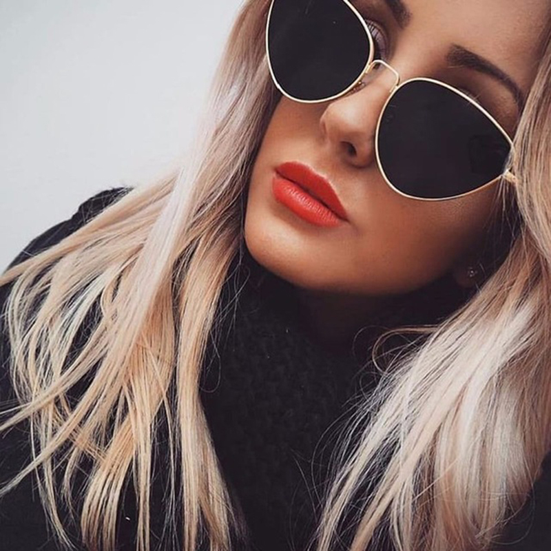 ZXWLYXGX 2018 New Cat Eye Sunglasses Women Brand Trendy Tinted Color Vintage Shaped Sun Glasses Famle Drop Shaped Ocean UV400