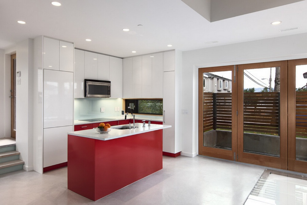 US $1600.0 |Vendite calde di alta laccato lucido mobili da cucina di colore  rosso moderno dipinto da cucina mobili L1606093-in Accessori e ricambi per  ...