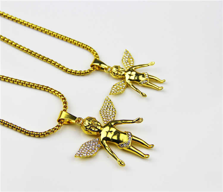 ZRM Fashion Boy Micro Angel Piece Necklace Hip Hop Wings Charm Angel Jewelry Men Women Gifts