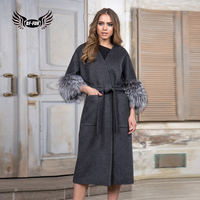 BFFUR Capped Woman Winter 2018 Fashion Style Genuine Natural Long Coat With Silver Fur Seelve Camouflage Park With Natural Fur