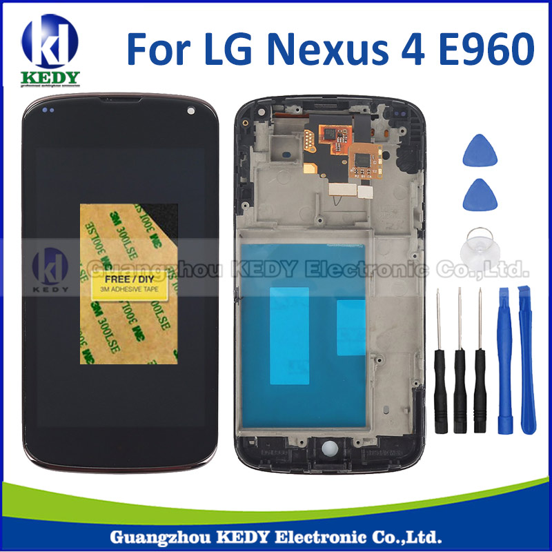 ФОТО Black For LG Nexus 4 E960 LCD Display with Touch Screen Digitizer Assembly With Frame replacement with tools
