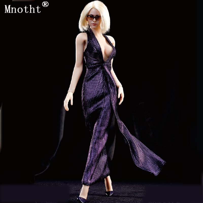 Montht F23 Purple 1/6 Women Female Marilyn Monroe Dress Skirt mysterious Clothes Suit For 12 PH Action Figure Doll Toys ma 1 6 purple female sexy leather skirt dress suit clothing model toys for 12 female action figures body accessory