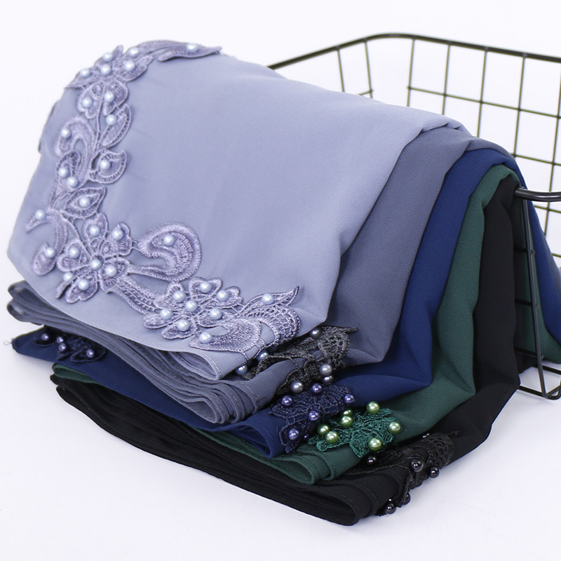 Plain Luxury Floral Bubble Chiffon Shawl Scarf With Pearl Lace New Design Hijab Caps Wrap Stole Muslim Sjaal 180*70Cm