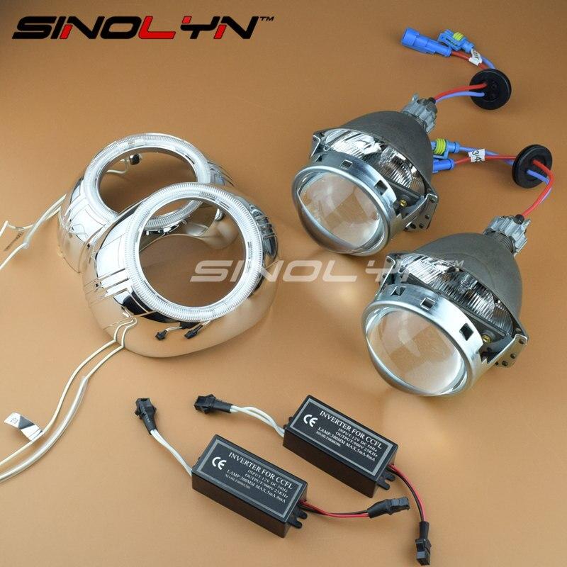 SINOLYN Car Styling 3.0 ''Métal HID bi-xénon Lentille Phare Projecteur Projecteur Au Xénon Lentilles W/WO Ange yeux H1 H4 H7 9005 9006
