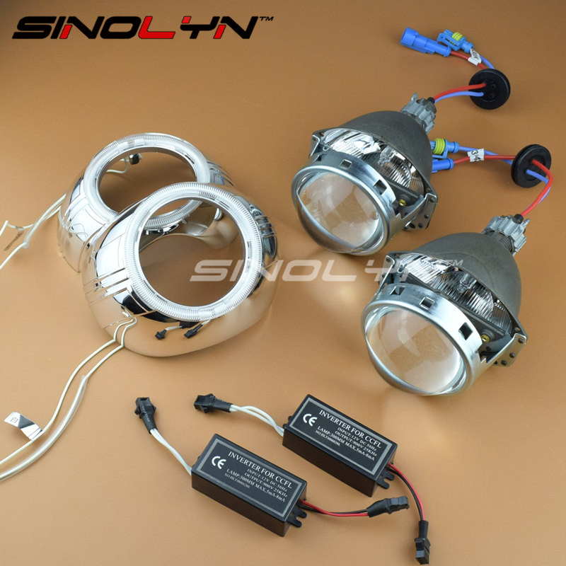 SINOLYN Car Styling 3.0'' Metal HID Bi-xenon Lens Headlight Projector Xenon Headlamp Lenses W/WO Angel Eyes H1 H4 H7 9005 9006 safego 2 5inch hid bixenon projector lens kit bi xenon with shroud bi xenon lens for h1 h4 h7 h11 9005 9006 car hid headlight