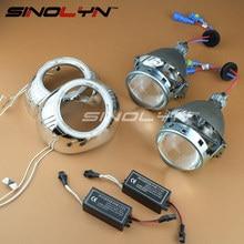 """SINOLYN Car Styling 3.0 """"de Metal HID Bi-xenon Lente Del Proyector Del Faro Lentes de Faros de xenón W/WO Angel Eyes H1 H4 H7 9005 9006"""