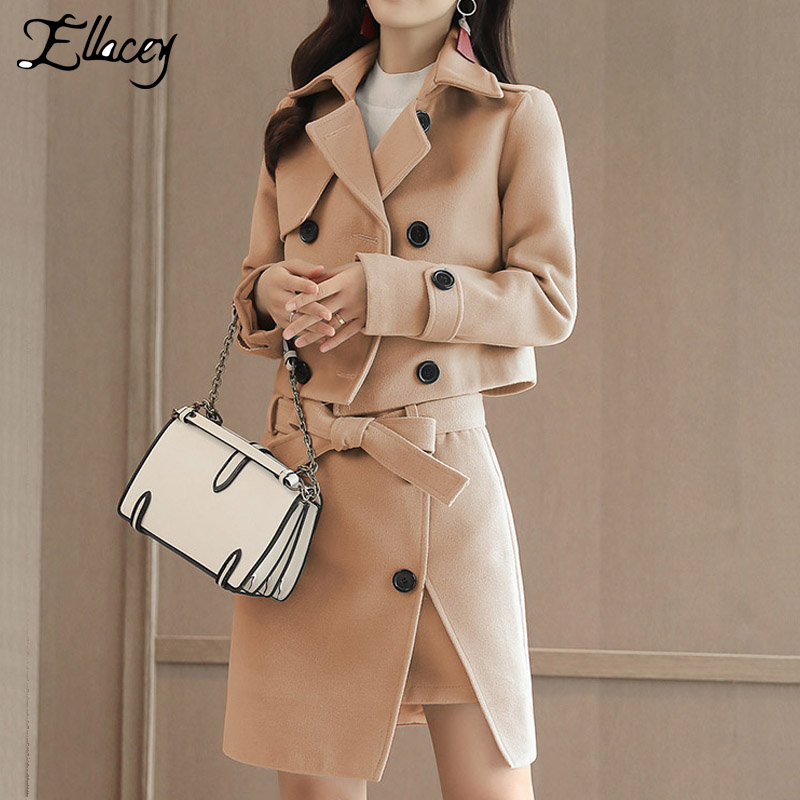 Ellacey New 2019 Women 2 Pieces Set Jacket Women Skirt Suit Trench Formal Suit Set Ladies