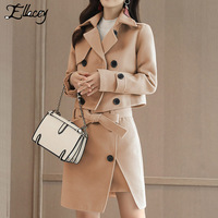 Ellacey New 2019 Women 2 Pieces Set Jacket Women Skirt Suit Trench Formal Suit Set Ladies Luxurious Elegant Blazer Skirt Sets