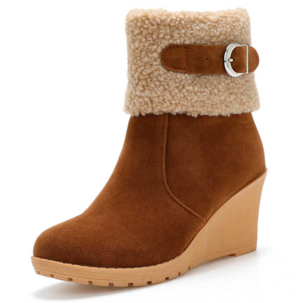 Botas de nieve Karinluna para mujer invierno cálido añadir plataforma de piel cuñas zapatos señoras Rusia tobillo botas talla grande 43