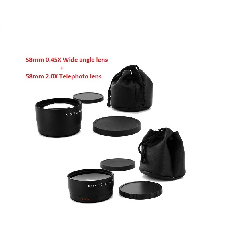 58MM 0.45x Wide Angle Lens&Macro Lens + Telephoto Lens for Nikon Cannon DSLR Cameras with 58mm Lens Thread