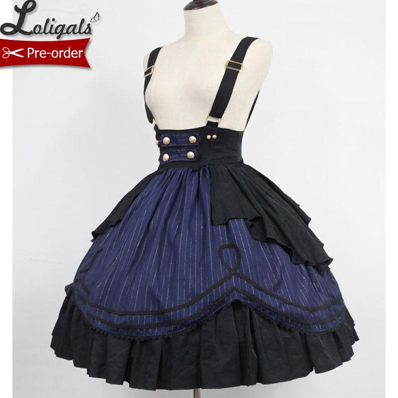 Classic Striped Lolita Suspender Skirt Idol College Series Short Skirt By Soufflesong