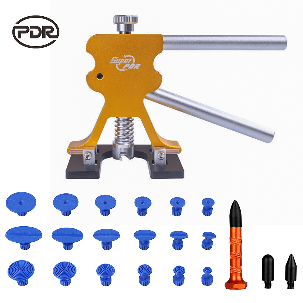 PDR Tools Paintless Dent Removal Car Dent Repair Kit Auto Repair Tool Set New Golden Puller Mini Lifter Glue Tabs Suction Cups pdr tools to remove dents car dent repair paintelss dent removal puller kit lifter removal glue tabs fungi sucker hand tool set
