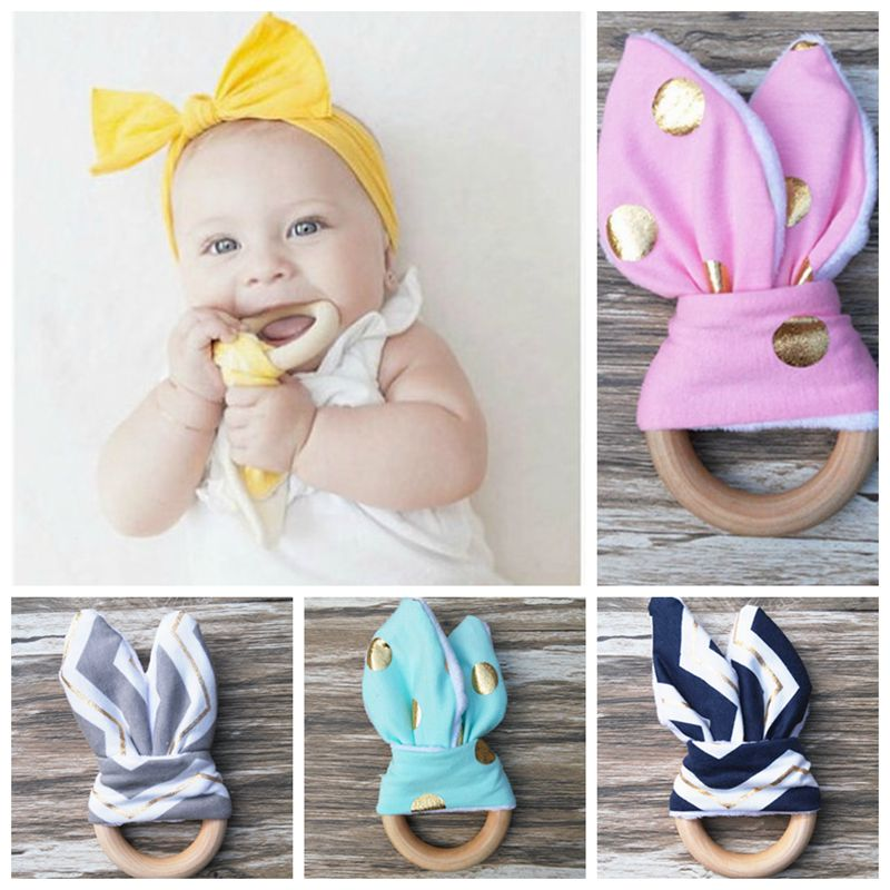 16 Color 2017 Baby Teether Teething Ring Wood Ring Teething Ring Training Toothbrushes Natural Wood Beads Toys for Baby Smooth