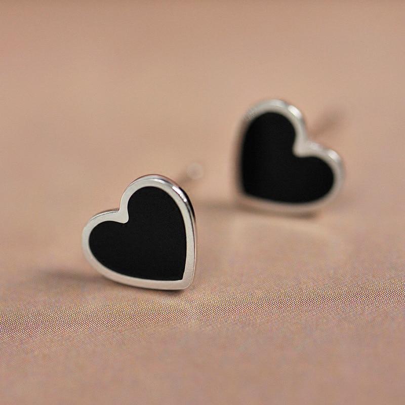 100% 925 Sterling Silver Engagement Enamel Heart Stud Earrings For Women Girls Sterling-silver-jewelry Earring Wedding Gifts