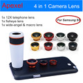 Camera Lens kit 12X Zoom Telescope Lens with Wide Angle & Macro & Fisheye Fish eye Lens with Case for Samsung galaxy S5 12X85
