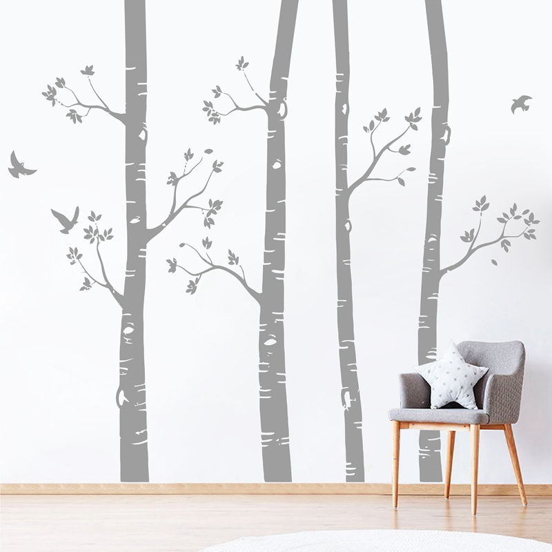 Large Birch Trees And Birds Sticker Nursery Wall Art Decals Nature Trees Removable Vinyl Sticker Decals Baby Room Wall Art Decor