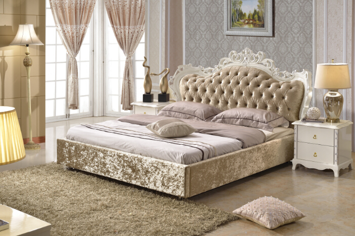 mobilier de chambre king size tissu lit brun couleur made in china prf2802