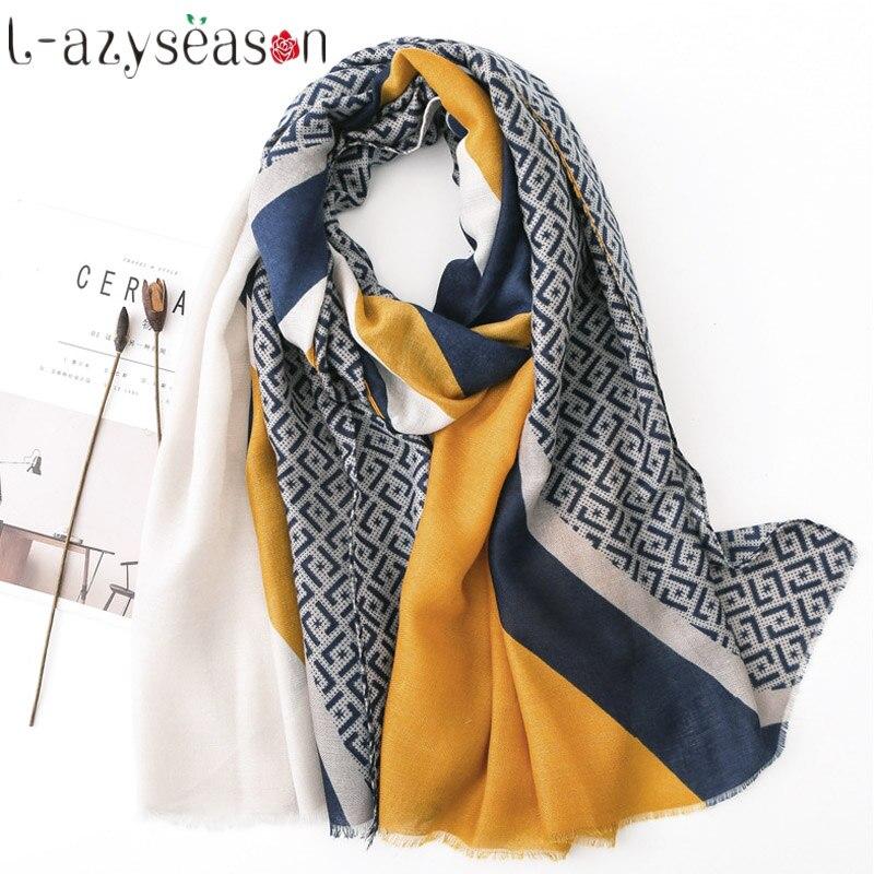 New Winter Hijab Scarf Women Luxury Brand Head Scarves Wraps Pashmina Cotton Warm Neckerchief Shawls Print Foulard Femme