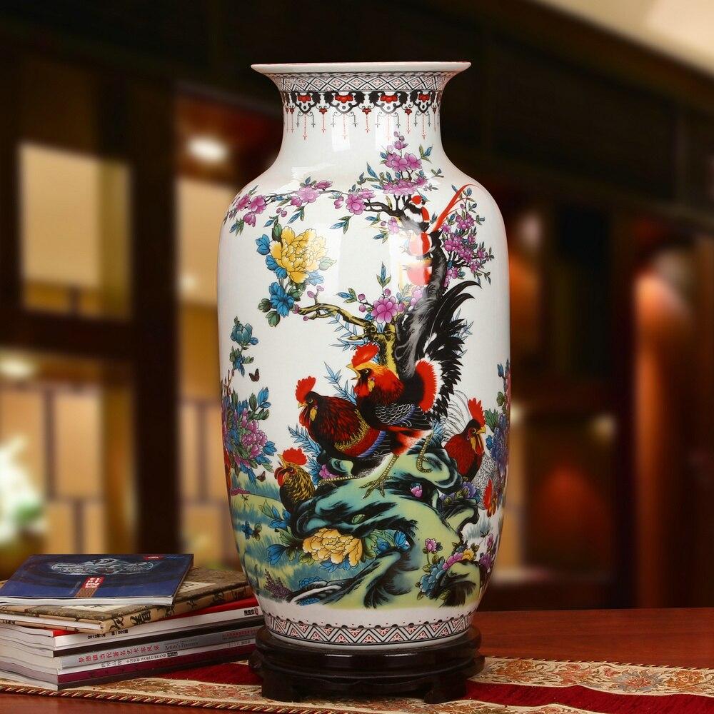 Jingdezhen ceramic vase Pastel Seven Heroes Fight For Spring Cock Winter Melon And Landing Vase Modern Chinese floor vase big vase