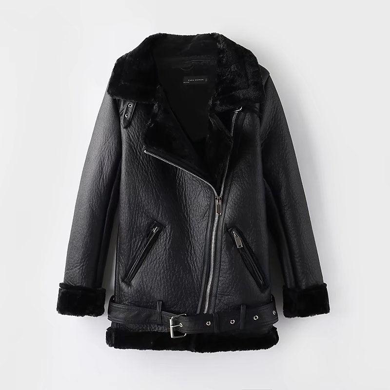 Automne hiver laine d'agneau PU veste en cuir femmes Slim col en fourrure à manches longues veste de motard chaud plus épais veste en cuir femme Q1071