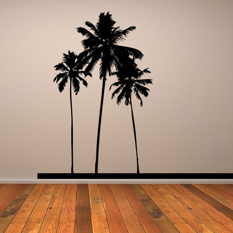 2015 Popular Pvc Waterproof Three Black Palm Trees Wall Sticker Home Decor For Living Room